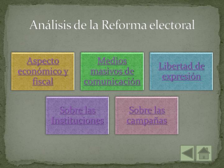 Análisis de la Reforma electoral