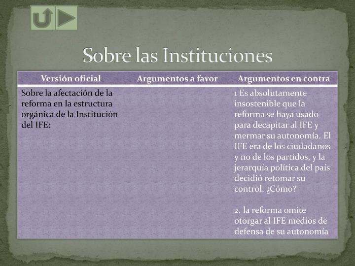 Sobre las Instituciones