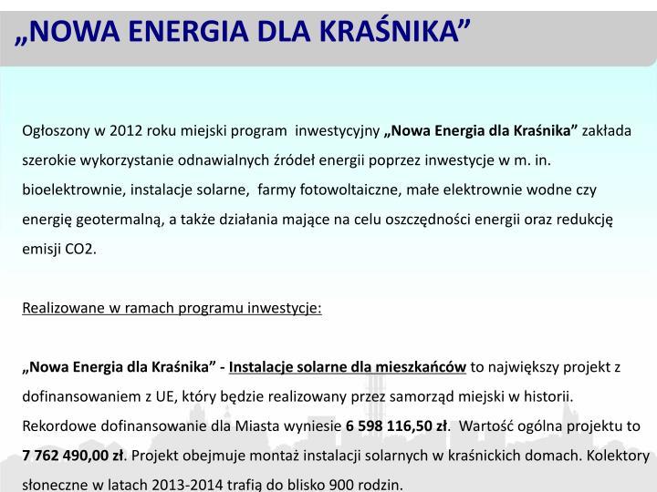 """""""NOWA ENERGIA DLA KRAŚNIKA"""""""