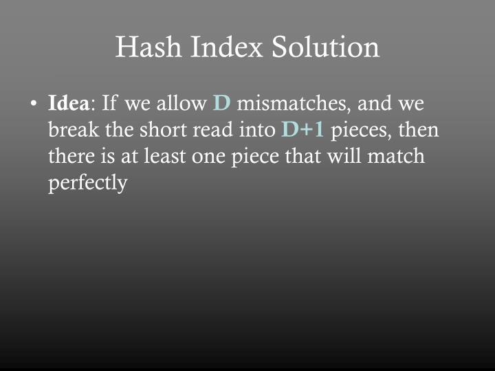 Hash Index Solution
