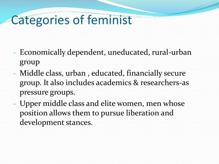 Categories of feminist