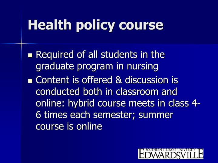 Health policy course