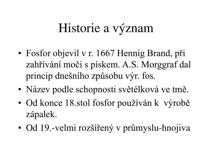 Historie a význam