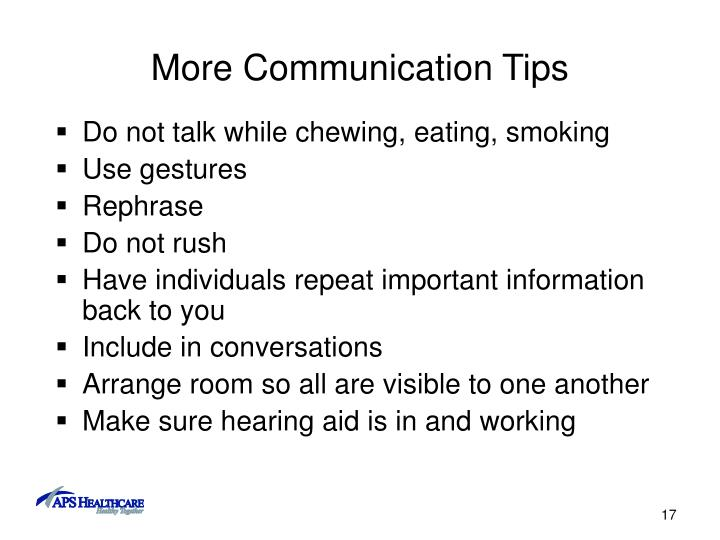 More Communication Tips