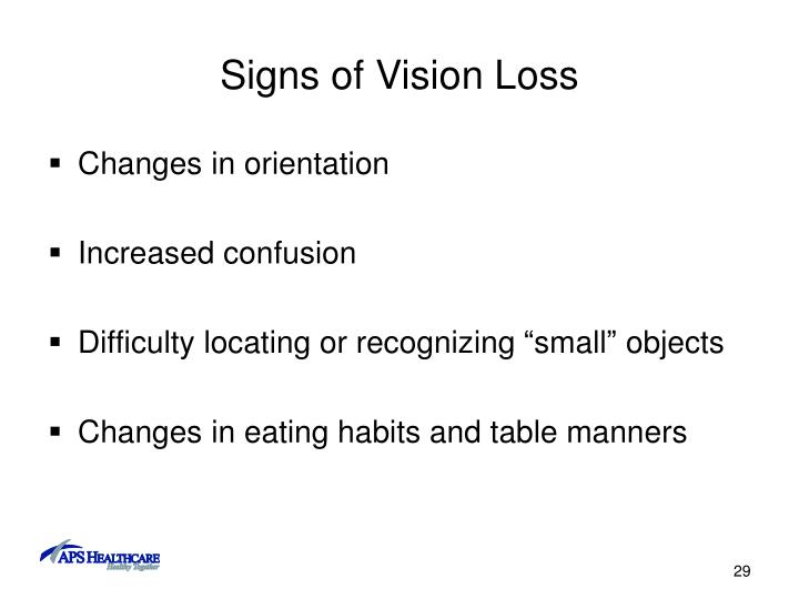 Signs of Vision Loss