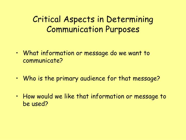 Critical Aspects in Determining Communication Purposes
