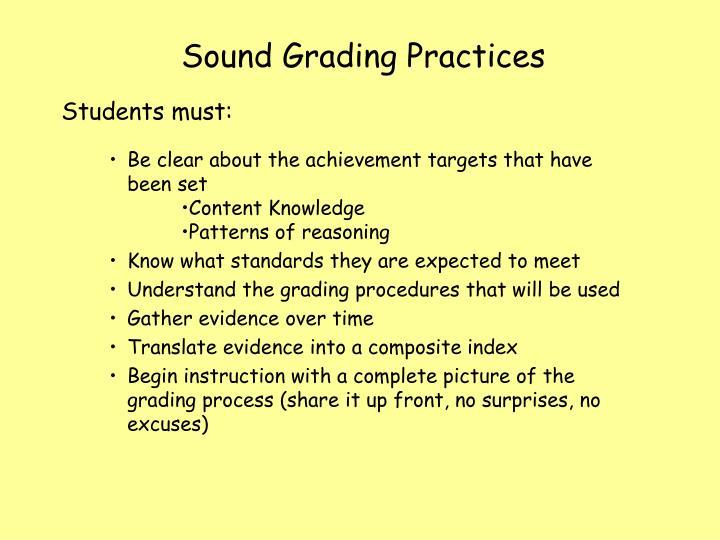Sound Grading Practices