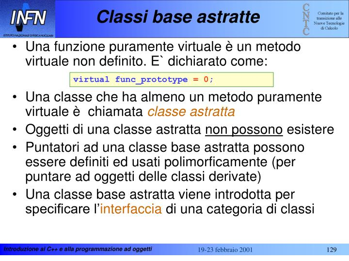 Classi base astratte