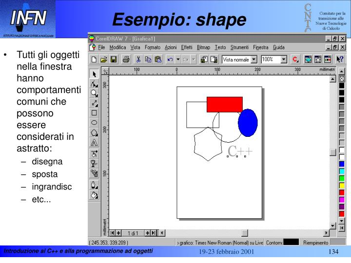 Esempio: shape
