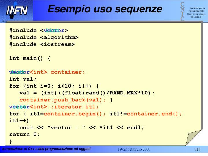 Esempio uso sequenze