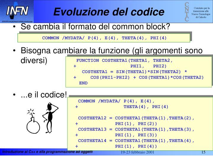 Evoluzione del codice