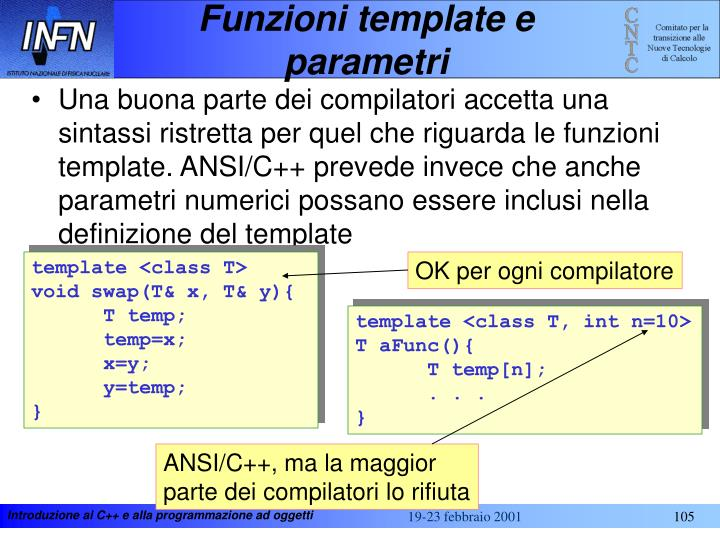 Funzioni template e parametri