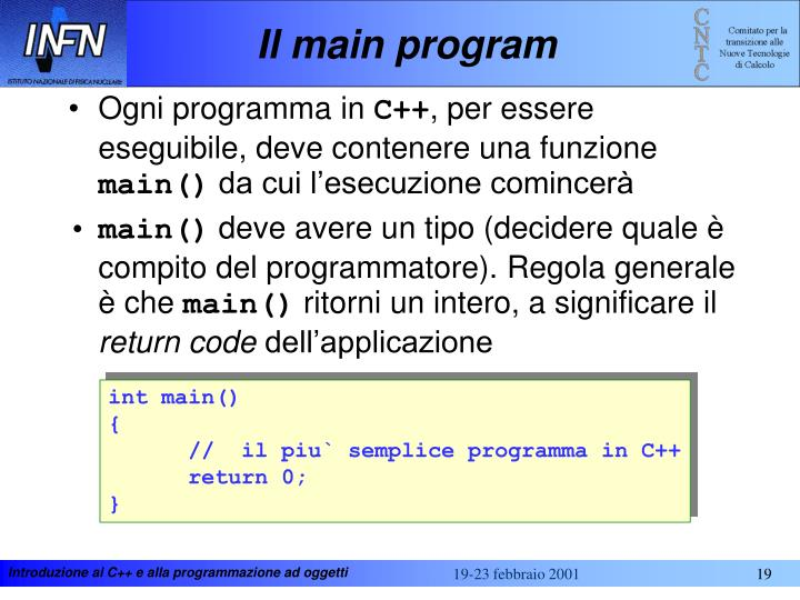 Il main program