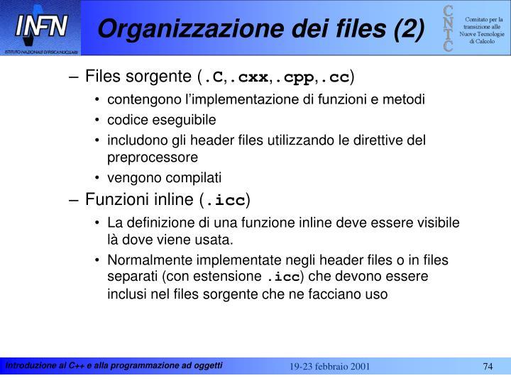 Organizzazione dei files (2)
