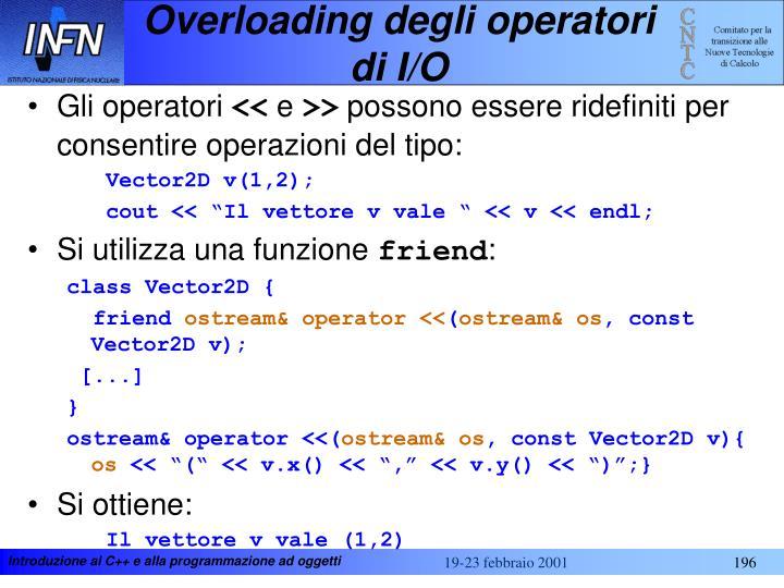 Overloading degli operatori di I/O