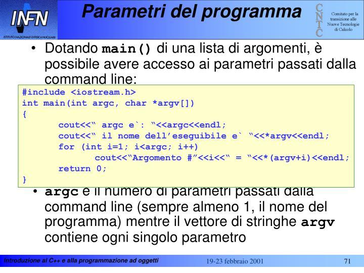 Parametri del programma