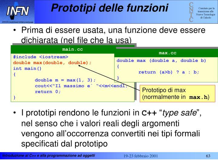 Prototipi delle funzioni