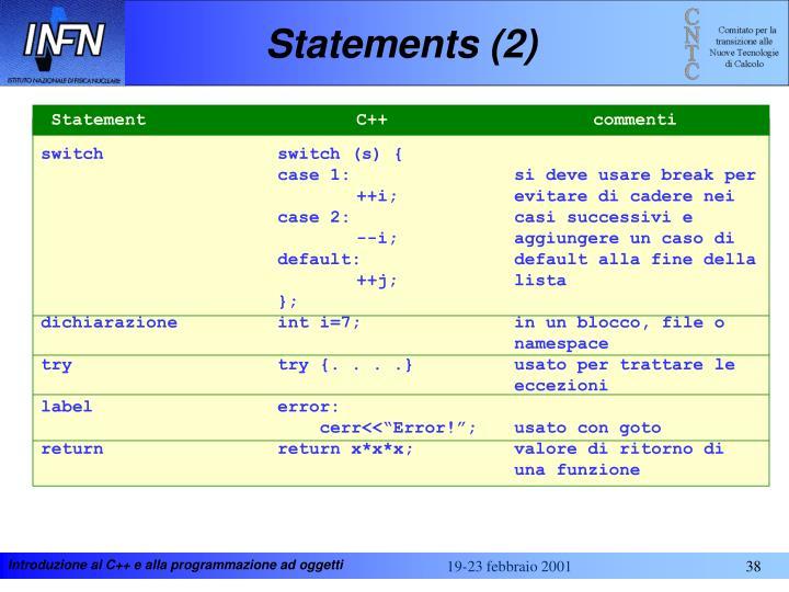 Statements (2)