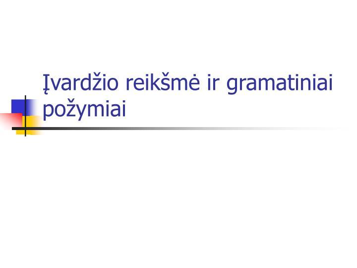 Įvardžio reikšmė ir gramatiniai požymiai
