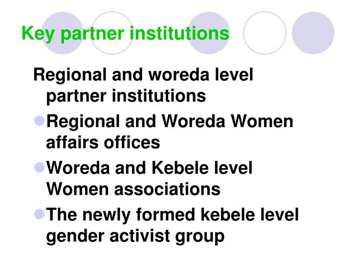 Key partner institutions