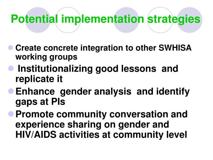 Potential implementation strategies