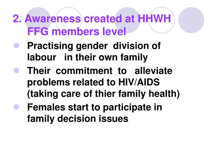 2. Awareness created at HHWH FFG members level