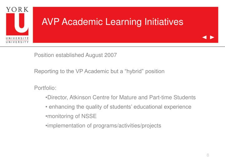 AVP Academic Learning Initiatives