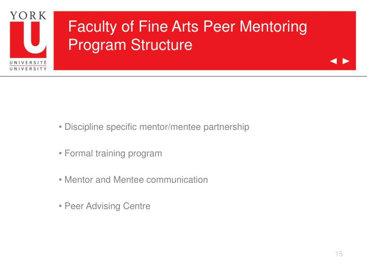 Faculty of Fine Arts Peer Mentoring Program Structure