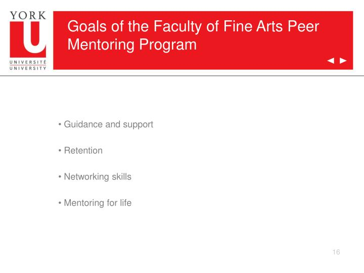 Goals of the Faculty of Fine Arts Peer Mentoring Program