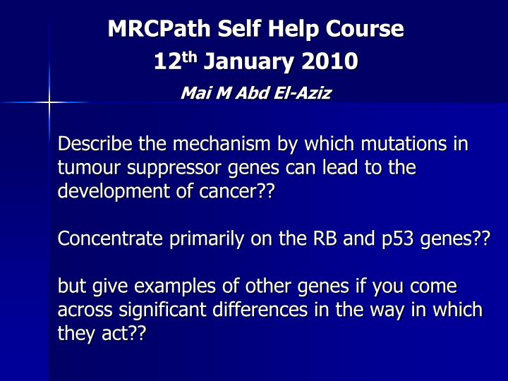MRCPath Self Help Course