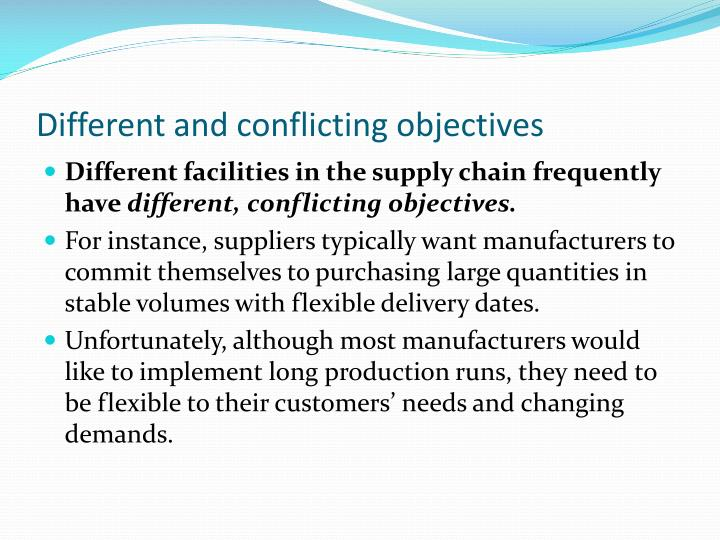conflicting objectives supply chain A review of approaches to supply chain communications: from manufacturing to construction submitted: may 2005 revised: may 2006 these organisations have their own objectives and they are.