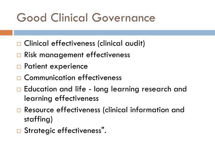 Good Clinical Governance