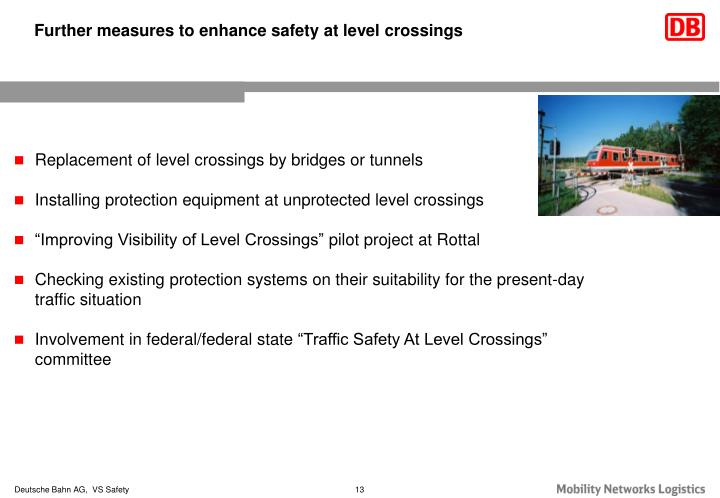 Further measures to enhance safety at level crossings
