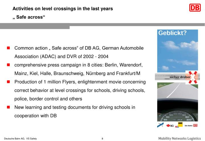 Activities on level crossings in the last years