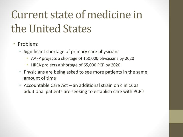Current state of medicine in the United States