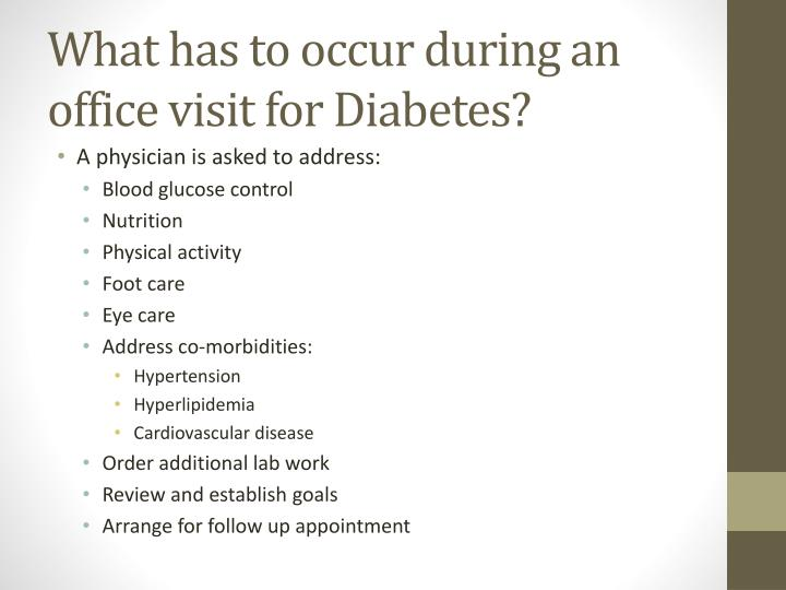 What has to occur during an office visit for Diabetes?