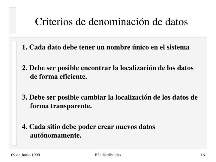 Criterios de denominación de datos