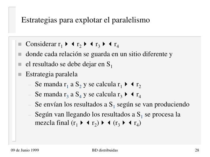 Estrategias para explotar el paralelismo