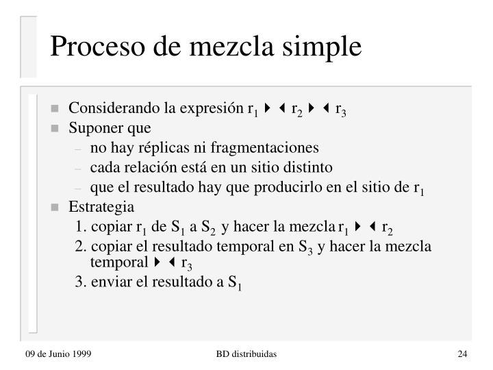 Proceso de mezcla simple