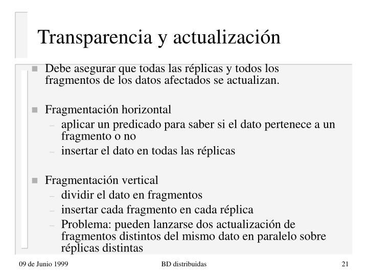 Transparencia y actualización
