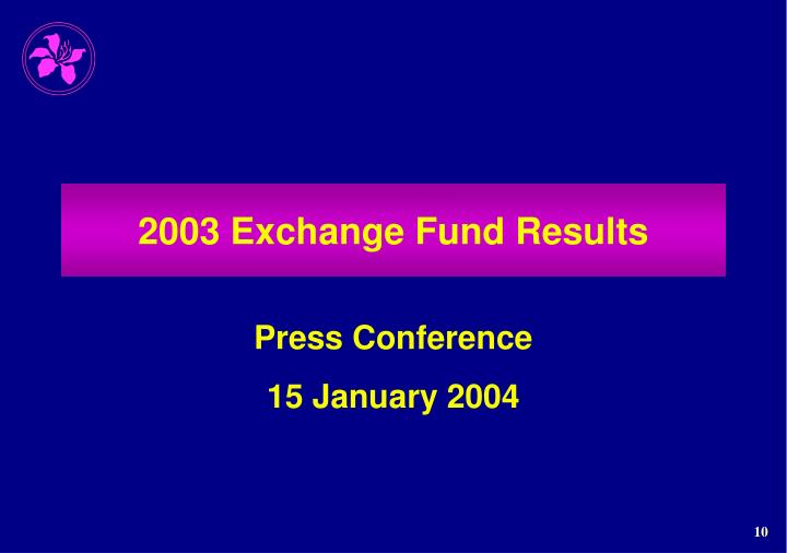 2003 Exchange Fund Results
