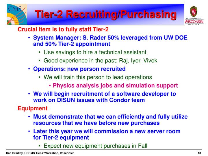 Tier-2 Recruiting/Purchasing