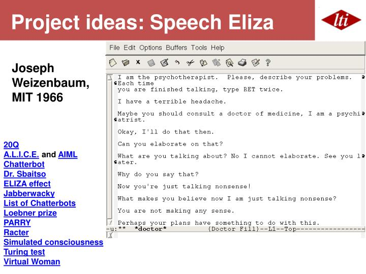 Project ideas: Speech Eliza