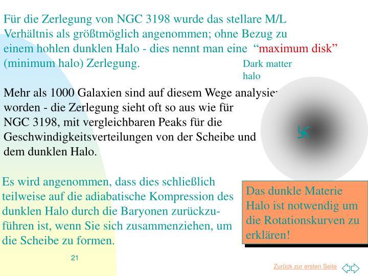 Für die Zerlegung von NGC 3198 wurde das stellare M/L