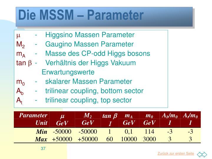 Die MSSM – Parameter