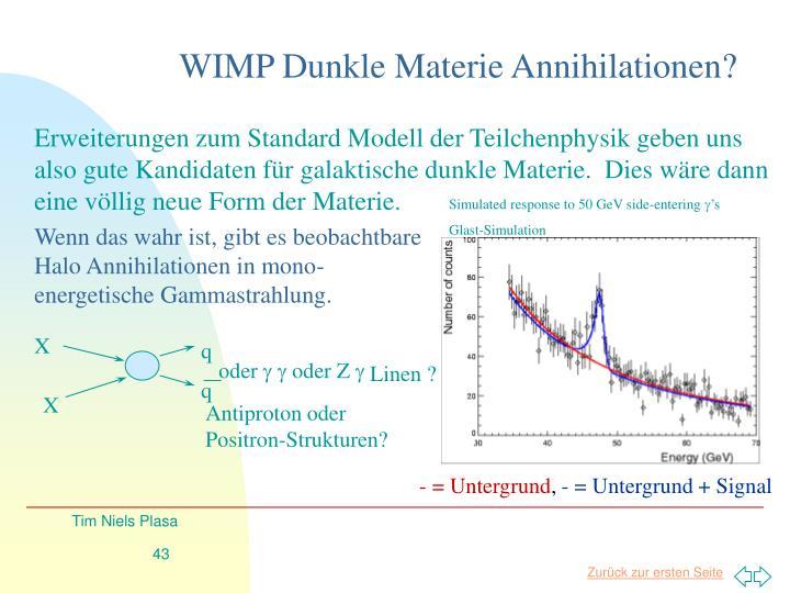 WIMP Dunkle Materie Annihilationen?