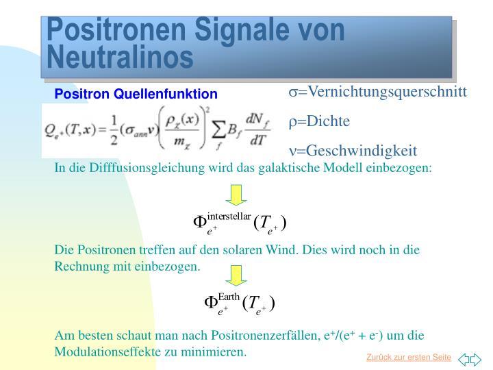 Positronen Signale von Neutralinos