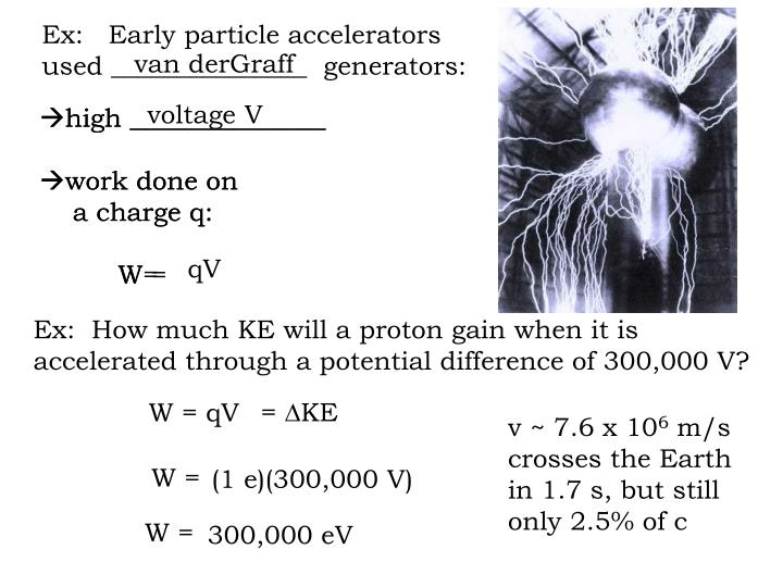 Ex:   Early particle accelerators