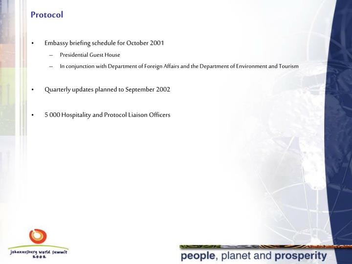 Embassy briefing schedule for October 2001