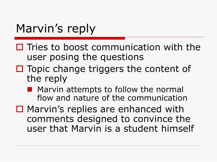 Marvin's reply